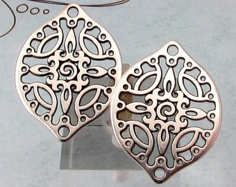 Filigree Drop, Antique Silver, 2 Pieces, AS410