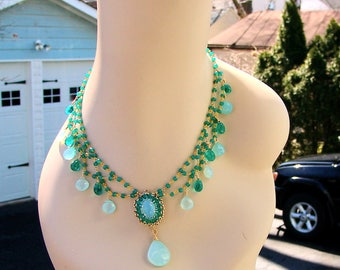 Lavish Vintage Inspired Aqua Blue Chalcedony Green Onyx Festoon Necklace in Vermeil Sterling Silver