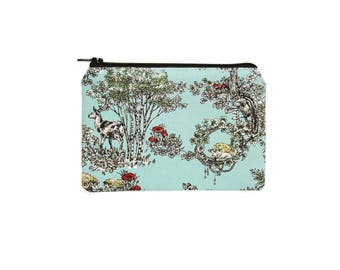 CHOOSE SIZE Hedgehog and Rabbit Mini Zipper Pouch / Cute Hedgehog Bag in Spring Woods with Owl