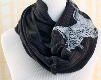 Silver Squirrel Infinity Scarf for him or her on purple and black stripe organic cotton hand printed, American grown and sewn