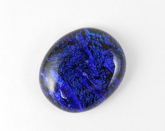 Dichroic Fused Glass Cabochon - Deep Dark Blue - 1738 - 26mm x 22mm