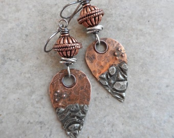 Dance the Tide ... Artisan-Made Mixed Metal Copper With Silver Solder Charms, Copper and Sterling Wire-Wrapped Rustic, Boho, Earthy Earrings