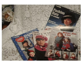 Lot of 4 Vintage KNIT and CROCHET HAT Booklets - Some Scarves and Mittens Too