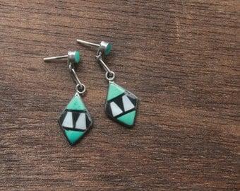 Vintage 1960s Turquoise Earrings . Geometric Sterling Silver Earrings . Southwestern Native American Jewelry . Navajo Bohemian Hippie