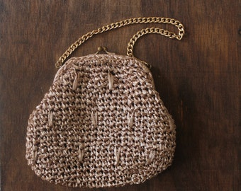 vintage 1950s brown raffia handbag / 50s brown day purse / vintage 50s straw bag