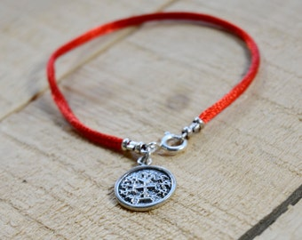 Handmade Winning Sterling Silver Amulet on Red Silk String Bracelet for Men & Women