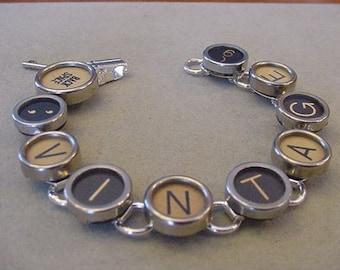 Typewriter key jewelry Bracelet - Spells VINTAGE - Black and Tan Glass Typewriter key Bracelet