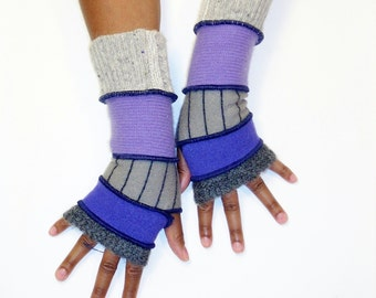 Fingerless Gloves, Armwarmers, Patchwork gloves (Dk. Grey Mohair/Lavender/Striped Grey/LIlac/Patched Light Grey) by BrendaAbdullah