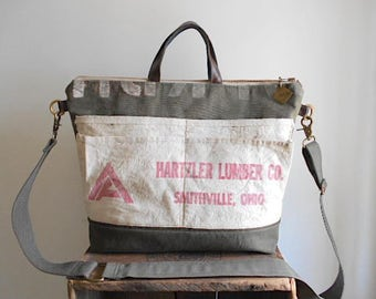 Military Canvas, lumber apron carryall, tote, laptop bag - Smithville Wooster Ohio - eco vintage fabrics