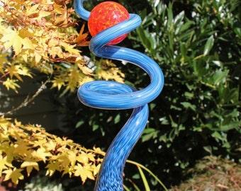 Aqua Blue Glass Sculpted Tigger Tail with Fire Red Ball Garden Art Finial Outdoor Garden Sculpture