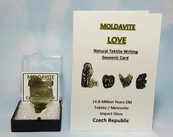 Rare Moldavite LOVE Rare Heart Shaped Moldavite Green Tektite Meteorite Impact Glass And Moldavite Love Tektite Writing LOVE Card