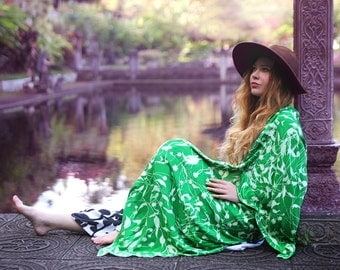 Green Kimono, Loose Wrap, Floral Robe, Asymmetric Robe, Holiday Dress, Womens Vest, Plus Size Vest, Long Cardigan, Vest Dress, Floral Dress