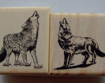 Lot of 2 Howling Wolves New Mounted Rubber Stamp - wolf