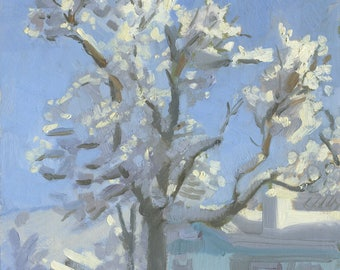 Neighbor's Tree Snow Day!: Original Oil Painting Plein Air Landscape