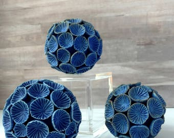 Decorative Balls, Set of 3 blue bowl filler rattles, ceramic nature sculpture, beach decor. Contemporary art. Sea Dandelion