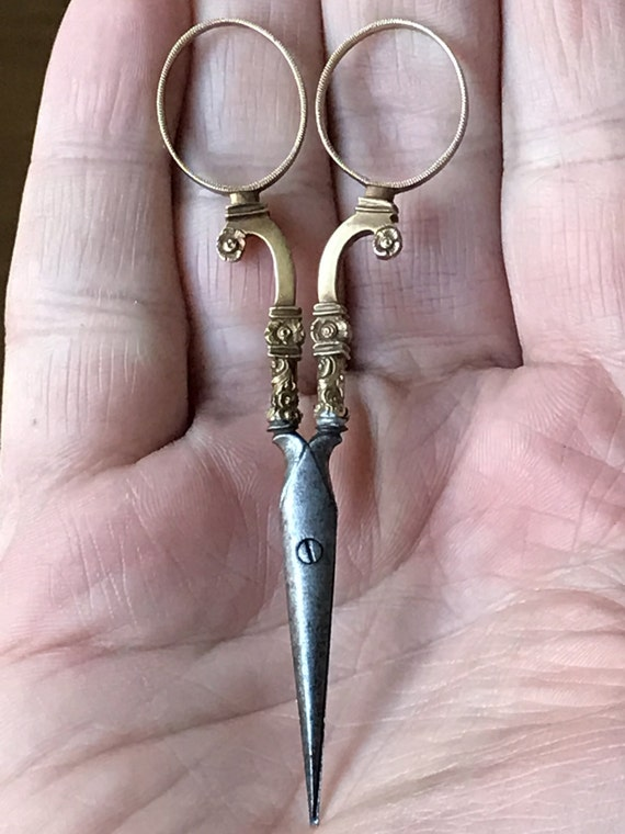 18K Solid Gold Handled Scissors French or German 19th Century