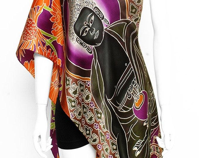 Handpainted silk scarf, Buddha scarf, flower scarf, Sacred scarf, Hand made, beautiful scarf, Luxury silk scarf, Orange scarf, Wall hanging