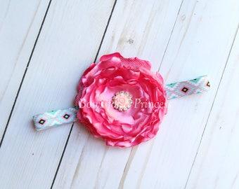 Aztec Hot Pink Frayed Toddler Baby Infant Burned Hair Flower Headband