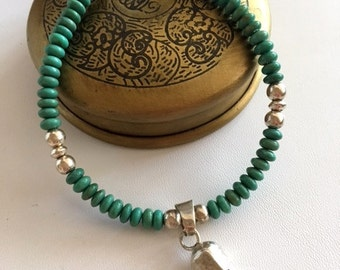 Turquoise Bracelet With Sterling Silver-Gemstone Beaded Bracelet