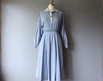 vintage 70s shirtdress / ruched waist collar dress / blue print aline dress