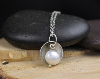 Necklace with White Freshwater Pearl and Antiqued Silver Disks