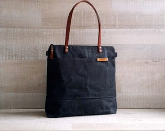 WAXED CANVAS TOTE in Charcoal Grey / Black ZiPPERED, Unisex, Laptop Bag, Diaper Bag, School Bag, Leather Straps, Macbook Pro Bag, Tote