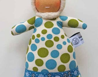 Waldorf inspired Northern Mini Baby , Teal and Green Dots