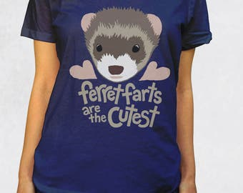 Ladies' Scoop Tee - Ferret Farts Are The Cutest Shirt - Sizes XS-S-M-L-XL-2XL - Cute Pet Ferrets Animal Lover Woman Scoopneck Womens Tshirt