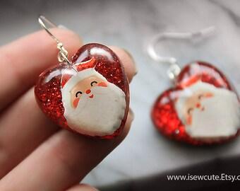 Christmas Earrings Christmas Accessory Glitter Heart Earrings Santa Jewelry Santa Earrings Holiday Jewelry Red Jewelry Unique Resin Jewelry