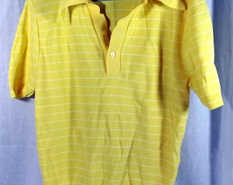Vintage 70's Sonata Men's Knit Polo Shirt - Ban-Lon Retro Hipster - Rat Pack -Size Medium - Yellow with White Stripes