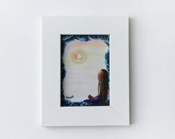 Miniature Framed Print - ACEO - Framed Canvas Print - Comes With Frame - Gift Idea - Girl With Heart - Canvas Print - Signed by Artist