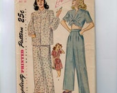 1940s Vintage Sewing Pattern Simplicity 2208 Misses Long and Short Pajamas PJs Size 12 Bust 30 40s UNCUT