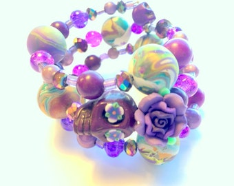 Bracelet Day of the Dead Sugar Skull and Rose Memory Wire in Purple