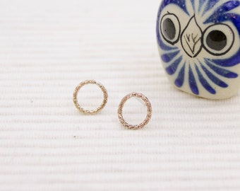 Gold-fill circle stud earrings