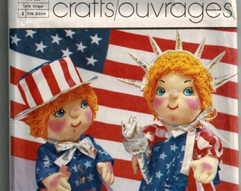 Vintage 80's Baby Liberty Doll Body Clothes Sewing Pattern Patriotic Uncle Sam Girl Boy Baby Doll 22 Inch USA Doll Pattern Simplicity 7540