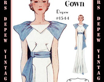Vintage Sewing Pattern 1930's Evening or Wedding Gown in Any Size Depew 1544 - PLUS Size Included -INSTANT DOWNLOAD-