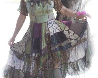Orlagh fairy Realm dress full skirt fringed neckline created from re-tresured, recycled vintage metallics, velvets, gauze