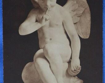 Art Emmanuel Fremiet Menacing Love Cupid Sculpture Early 20th Century Postcard Made France
