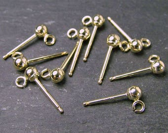 PAIR Gold Filled Ear Post with Ball 3mm (CG1271)