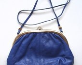 Vintage Leather Handbag, Royal Blue Pocketbook, Vintage Leather Purse, Made in Italy, Long Shoulder Strap, Brass Clasp and Accents