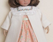 "For 13"" Effner Little Darling - Spring or Easter Set Consisting of Dress With Embroidered Voile Collar, Slip and Coat"