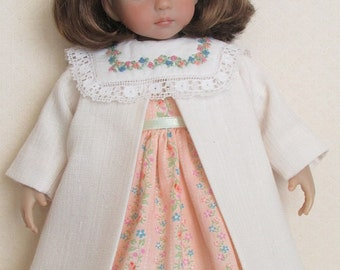 """For 13"""" Effner Little Darling - Spring/Easter Set Consisting of Dress With Embroidered Voile Collar, Slip and Coat"""
