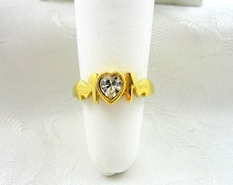 Vintage Avon Mom Ring Rhinestone Crystal Goldtone