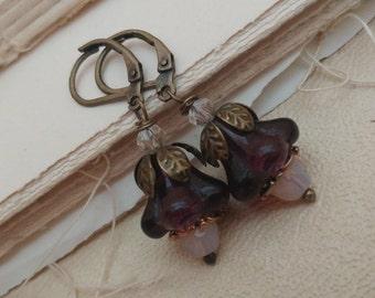 Secret garden, purple flower earrings.