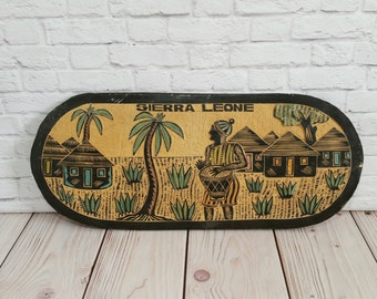 Vintage Sierra Leone Hand Carved Wood Wall Hanging Plaque
