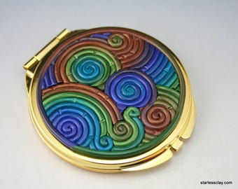 Compact Mirror in Peacock Colors Polymer Clay Filigree (Gold Finish)