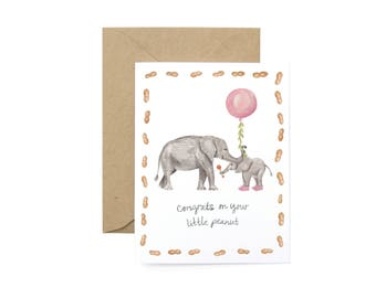 Little Peanut Congrats Greeting Card - Illustrated Elephant Celebration, Congratulations, New Baby Card