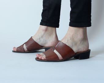 brown leather slides   mules leather sandals   7.5 US 38 EU