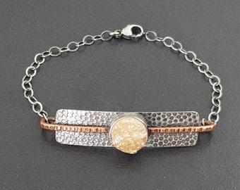 ON SALE---Champagne Druzy Bracelet, mixed metal bracelet, druzy bracelet, drusy bracelet, peach stone, copper silver, sterling silver druzy