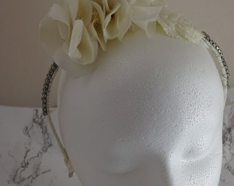 Rhinestone Floral Tiara, Wedding Hair Accessory, Ivory Bridal Head Piece, Vintage Wedding Accessories Headband Tiara Handmade